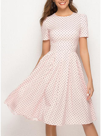 PolkaDot Short Sleeves A-line Knee Length Casual/Elegant Dresses