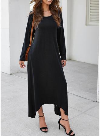 Jednolita Długie rękawy Koktajlowa Midi Mała czarna/Casual/Elegancki Sukienki