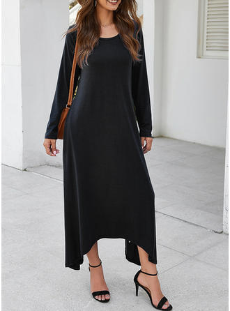 Solid Long Sleeves Shift Midi Little Black/Casual/Elegant Dresses