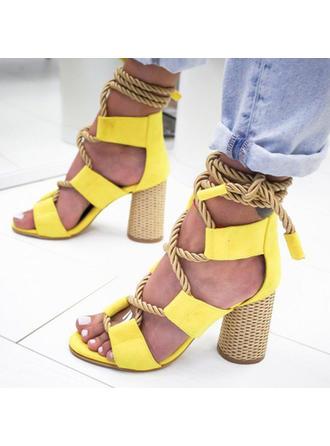 Frauen PU Stöckel Absatz Sandalen Absatzschuhe mit Zuschnüren Schuhe