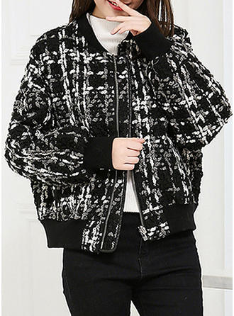 Cotton Long Sleeves Houndstooth Jackets