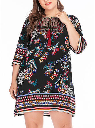 Print/Floral 3/4 Sleeves Shift Knee Length Casual/Boho/Vacation/Plus Size Dresses