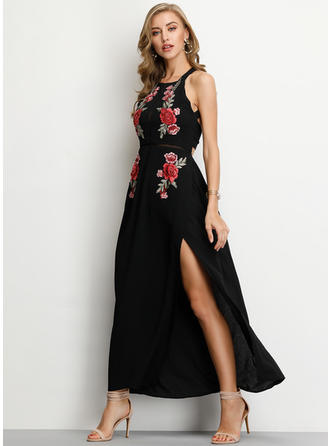 Embroidery/Floral Sleeveless A-line Maxi Casual/Vacation Dresses