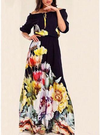 Druck/Blumen 1/2 Ärmel A-Linien Freizeit/Elegant Maxi Kleider