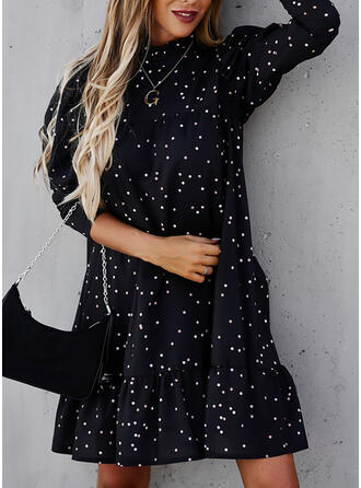 PolkaDot Long Sleeves/Puff Sleeves Shift Knee Length Casual Tunic Dresses