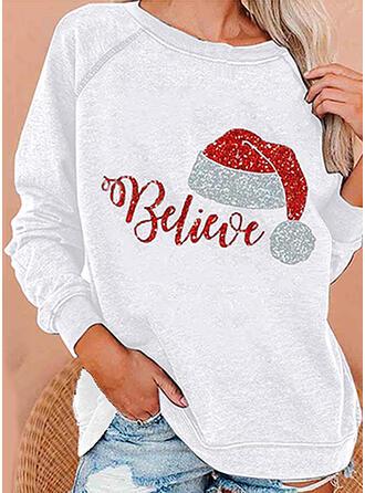pailletter Figur rund hals Lange ærmer Jule sweatshirt