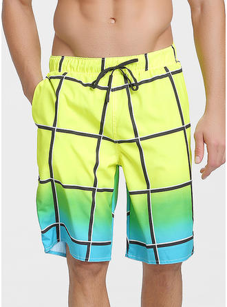 Men's Grid Board Shorts Swimsuit