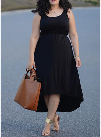 Solid Sleeveless A-line Asymmetrical Little Black/Casual/Plus Size Dresses