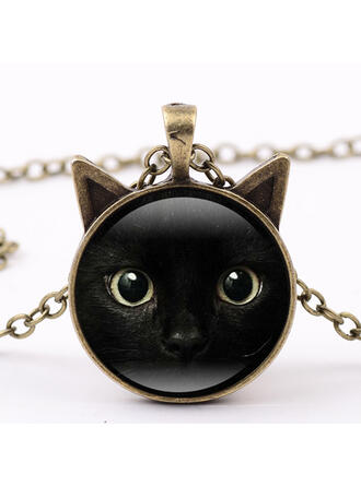 Black Cat Alloy Glass Women's Necklaces
