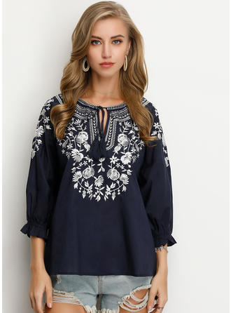 Embroidery V Neck 3/4 Sleeves Casual Elegant Blouses