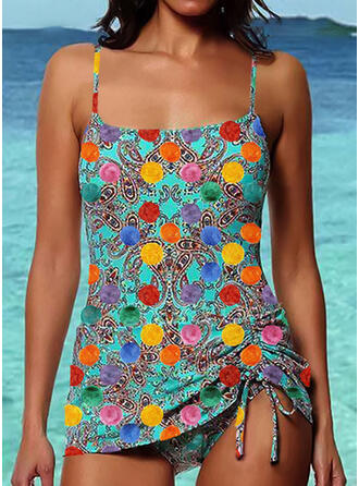 Dot Drawstring Strap Bohemian Eye-catching Tankinis Swimsuits