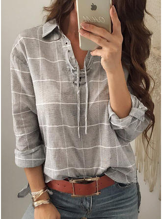 Cotton V Neck Striped Long Sleeves Shirt Blouses