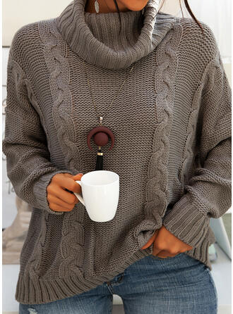 Solid Cable-knit Chunky knit Turtleneck Casual Sweaters (1002280416)