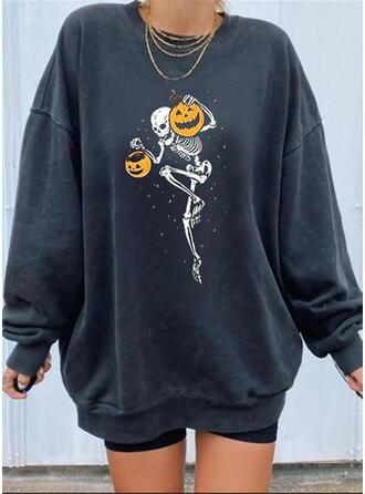 Halloween rund hals Lange ærmer Sweatshirts