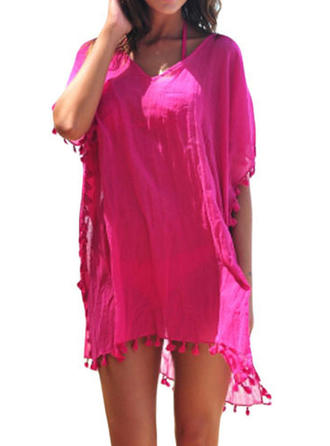 Solid Color Round Neck Beautiful Cover-ups Swimsuits