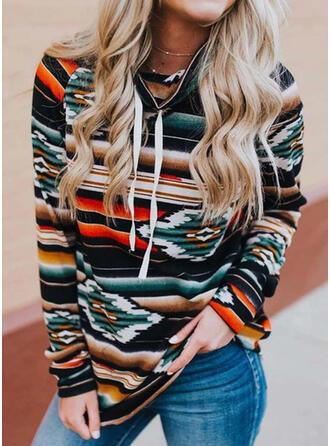 Print høj hals Lange ærmer Sweatshirts