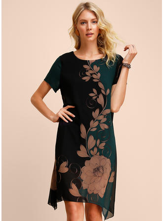 Print/Floral/Color-block Short Sleeves Shift Knee Length Casual Dresses