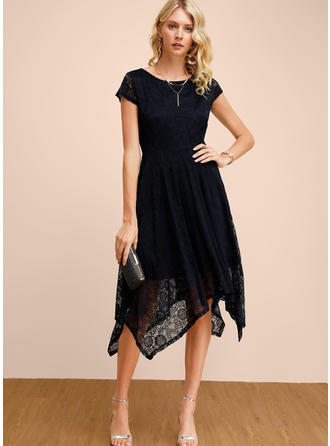 Lace/Solid Short Sleeves A-line Midi Party/Elegant Dresses