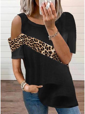 Color Block luipaard One-shoulder Korte Mouwen T-shirts