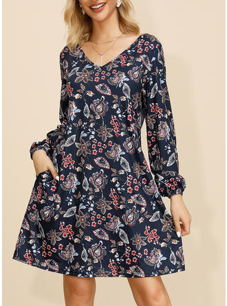 Print/Floral Long Sleeves Shift Knee Length Casual/Elegant Dresses