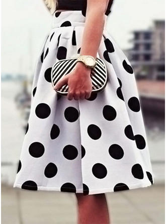 Polyester Polka Dot Knee Length Pleated Skirts A-Line Skirts