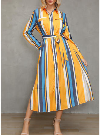 Color Block/Striped Long Sleeves A-line Casual/Vacation Midi Dresses