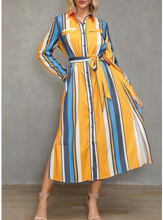 Χρωματιστό Μπλοκ/Ριγέ Μακρυμάνικο Φαρδύ Κάτω Καθημερινό/Διακοπές Μίντι Сукні