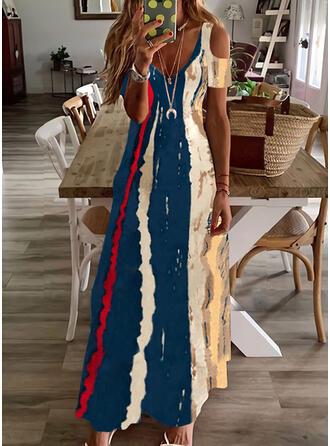 印刷 半袖 冷たい肩の袖 Aラインワンピース スケーター カジュアル マキシ ドレス