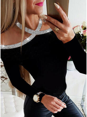 Solid Long Sleeves Casual Elegant Sexy Blouses