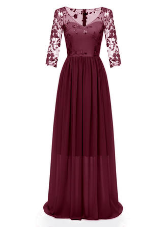 Lace Embroidery V-neck Maxi A-line Dress