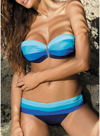 Stripe Patchwork Round Neck Classic Attractive Bikinis Swimsuits