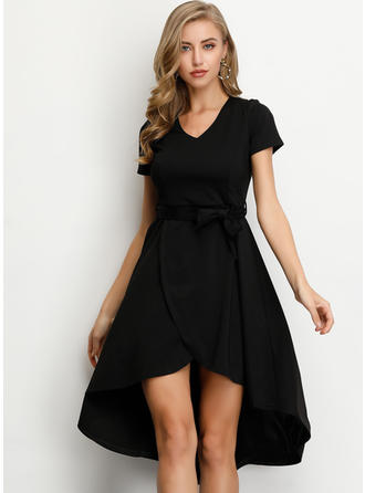 Solid Short Sleeves A-line Asymmetrical Little Black/Casual/Elegant Dresses