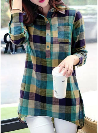 Cotton Lapel Color Block Long Sleeves Button Up Blouses