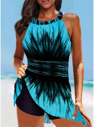 Stripe Splice color Strap High Neck Plus Size Swimdresses Swimsuits