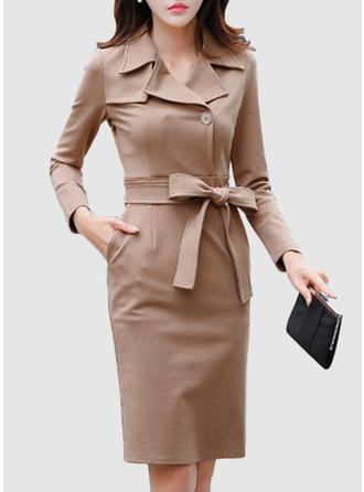 Solid Long Sleeves Sheath Midi Casual Dresses