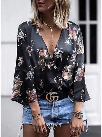 Polyester V Neck Floral Long Sleeves Casual Blouses