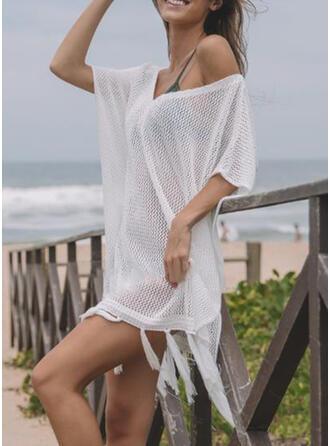 Einfarbig Gittergewebe V-Ausschnitt Elegant Klassisch Strandmode Bademode