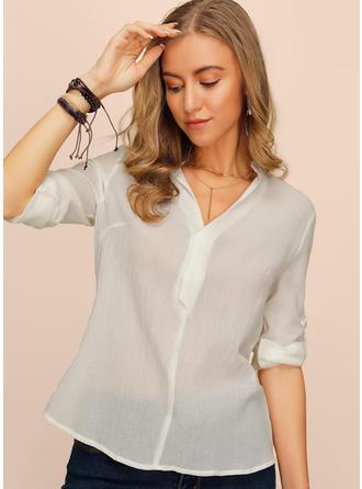 Jednolity Litera V Długie rękawy Casual Elegancki Bluzki