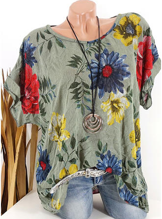 Print Floral Round Neck Short Sleeves Casual T-shirt