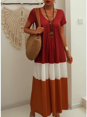 Color Block Short Sleeves Shift Casual Maxi Dresses