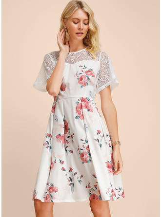 Lace/Print/Floral Short Sleeves A-line Knee Length Casual/Elegant Dresses