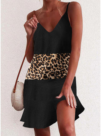 Bloque de color/Leopardo Sin mangas Tendencia Sobre la Rodilla Casual Camisón Vestidos