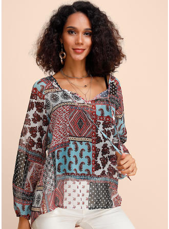 Print Patchwork V Neck Long Sleeves Casual Blouses