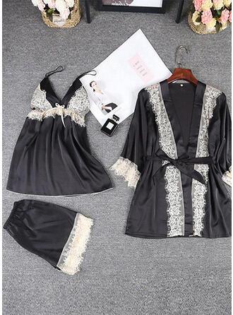 Polyester Elasthan Blonder Solid color Halter Sexy 3pcs Cami-sæt Robe