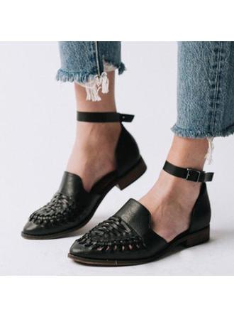 Frauen PU Flascher Absatz Flache Schuhe Geschlossene Zehe mit Schnalle Schuhe