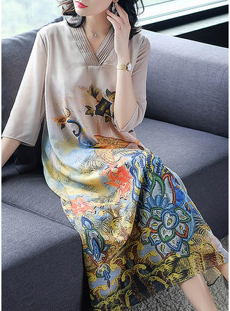 Print/Floral 3/4 Sleeves Shift Midi Casual/Elegant Dresses