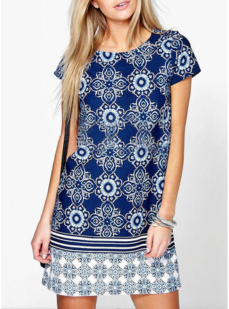 Print Short Sleeves Shift Above Knee Casual Dresses