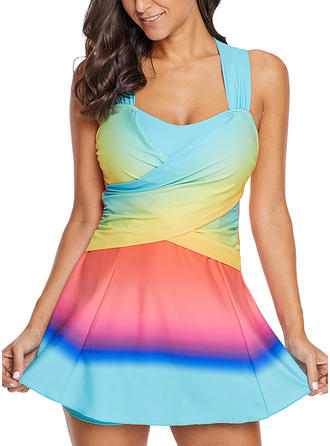 Splice color Round Neck Beautiful Plus Size Swimdresses Swimsuits