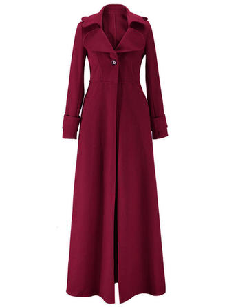 Wool Long Sleeves Plain Wool Coats