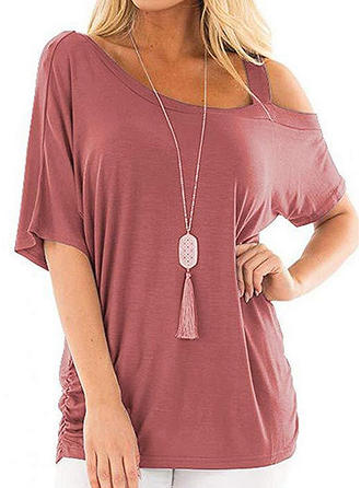 Solid One Shoulder 1/2 Sleeves Casual Blouses